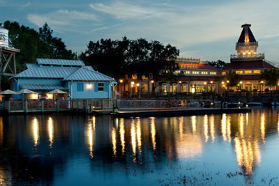 View of the Boat dock in the evening at the Port Orleans Riverside Resort