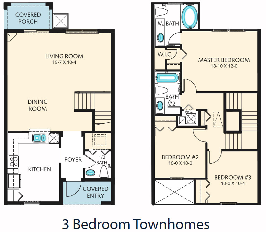 Floorplan of the 3 Bedroom Townhome at the Regal Palms Resort in Orlando Fl