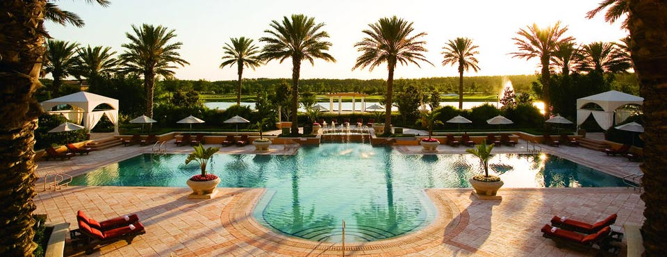 View of the Quiet, Elegant Outdoor Heated Pool at the Ritz-Carlton Hotel Grande Lakes in Orlando Fl 960