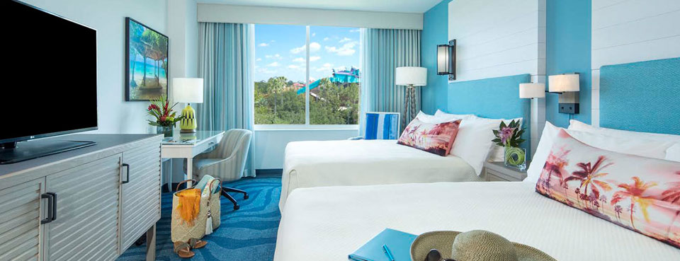 View of the Double Queen Standard room with 2 Queen Beds at the Sapphire Falls Resort in Universal Orlando wide