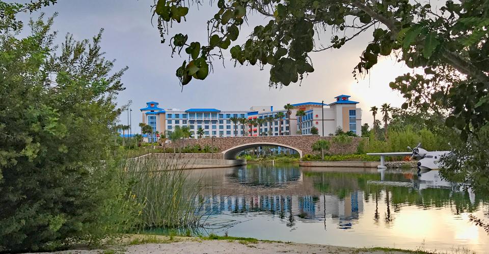 View of Loews Sapphire Falles Resort Universal Orlando from the Port Royal Lake and Bridge 960