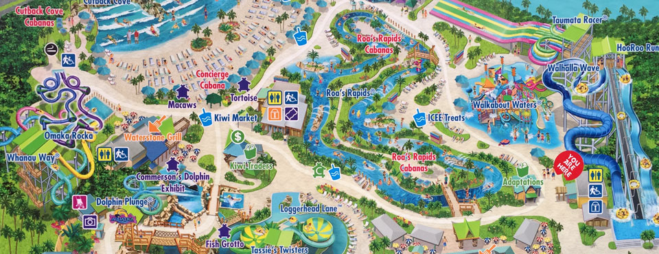SeaWorld Aquatica Map on side of building wide