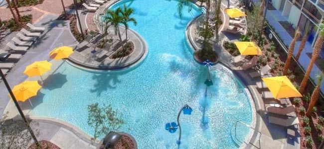 The kids splash zone with Zero entry access and Flowering Fountains at the Sheraton Lake Buena Vista Resort