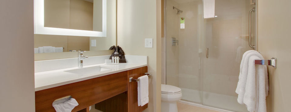 Bathroom with Free Standing Shower at the Springhill Stuies in Kissimmmee Florida