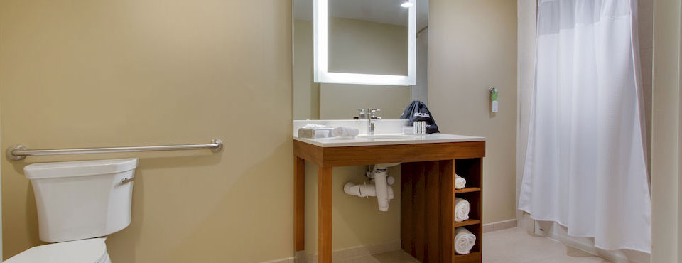 Suite Bathroom with Tub and Shower Unit at the Springhill Suites in Kissimmee Fl