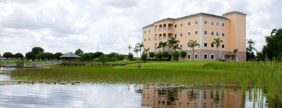 Outdoor View from the lake of the Condos t the Orlando Summer Bay Resort 960