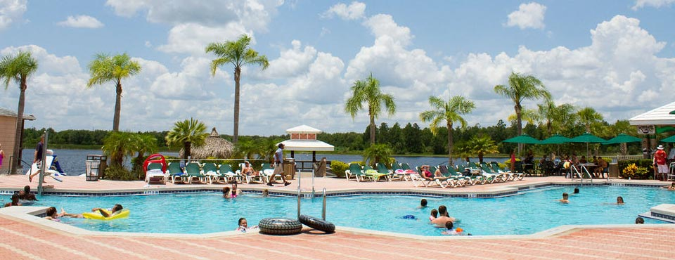 The Clubhouse Pool overlooking the lake and marina at the Summer Bay Resort in Orlando Fl 960