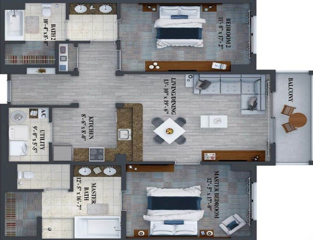 Floorplan of the 2 Bedroom 2 Bathroom Suite at the Grove Resort Orlando Fl