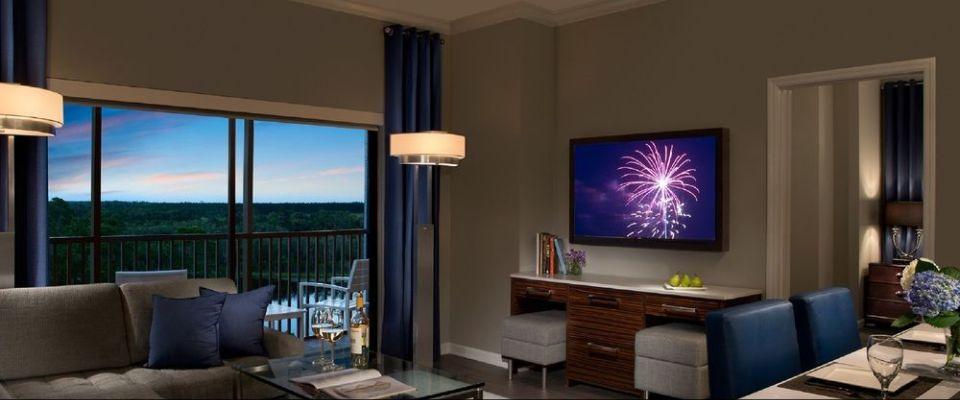 View of the Living Room in the 2 Bedroom Suite at The Grove Resort in Orlando
