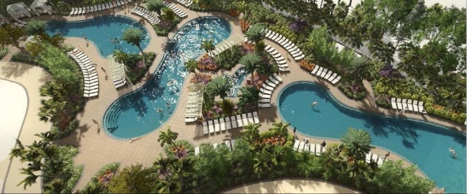 Top down view of the 3 outdoor swimming pools at The Grove Resort in Orlando