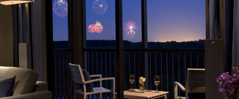 View of the Fireworks from the balcony of a 2 Bedroom Suite at the Grove Resort in Orlando 960