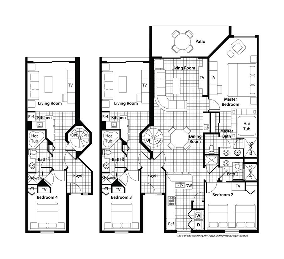 Floorplan of the Westgate Town Center Resort Three Bedroom Deluxe Villa. Westgate Town Center Villas Floorplans and Pictures   Orlando Fl