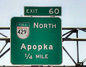 View of the Toll Road Exit 60 Apopka in Orlando Florida