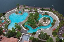 Top down view of the pool and lazy river complex at the Wyndham Bonnet Creek Orlando