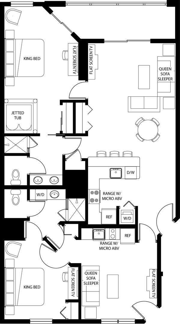 Floorplan of the Westgate Town Center Resort Two Bedroom Deluxe Villa. Westgate Town Center Villas Floorplans and Pictures   Orlando Fl