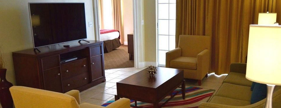 2 Bedroom Villa with a large Living Room and Sleeper Sofa at Calypso Cay Vacation Villas Resort in Kissimmee Fl