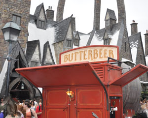 View of a Butterbeer cart at Universal Islands of Adventure Harry Potter World