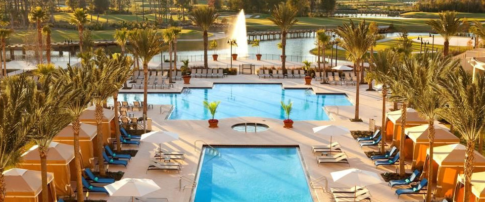 View of the Large Main pool from the back of the Waldorf Astoria in Orlando Fl 960
