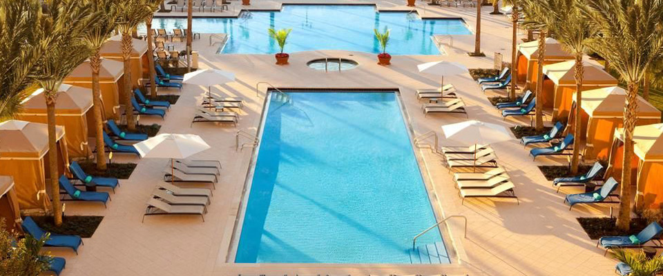 Rows of Cabanas line the main Quiet Pool at the Waldorf Astoria