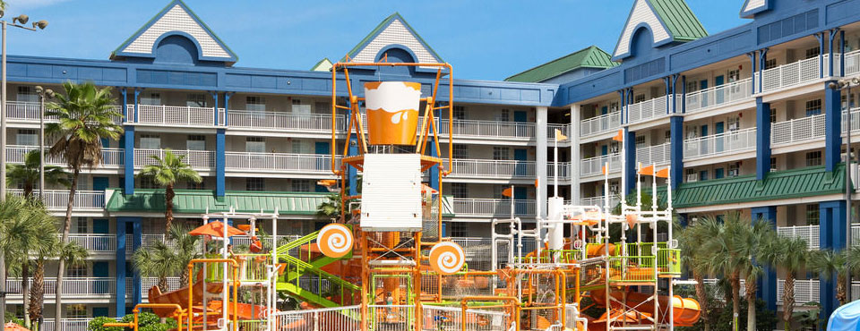 View of the large water park zone with 400 gallon dumping bucket at the Holiday Inn Resort Orlando Suites Water Park