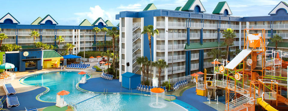 View of the zero entry Lagoon Pool at the Holiday Inn Resort Orlando Suites Water Park wide