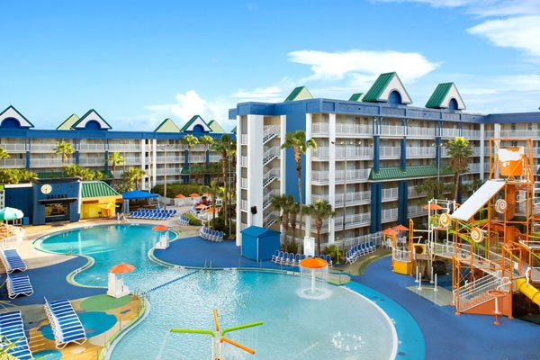 View of the zero entry Lagoon Pool at the Holiday Inn Resort Orlando Suites Water Park