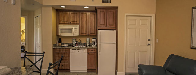 View of the kitchenette in the 1 Bedroom Villa at Westgate Town Center Resort in Orlando