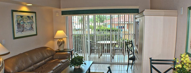 Each of the Villas at the Westgate Town Center have a Patio or Balcony with seating and a table to enjoy the outdoors