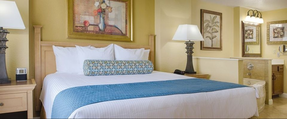 View of the Master Bedroom with King Bed in a 1 Bedroom Suite at the Wyndham Bonnet Creek Resort in Orlando