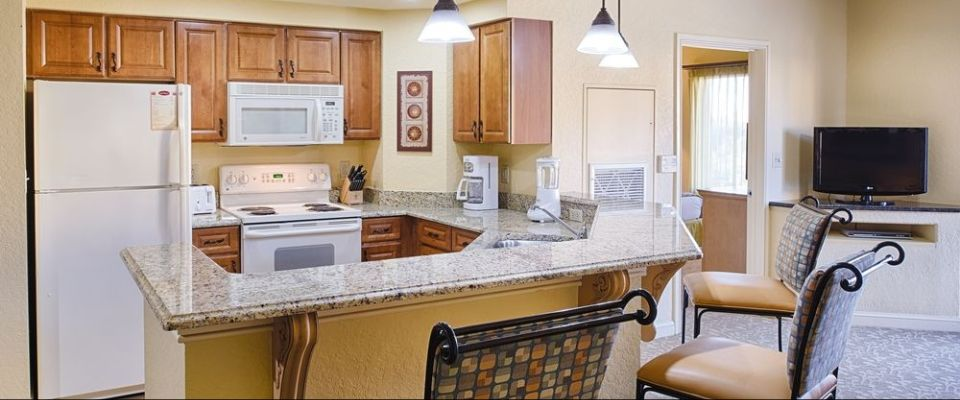 View of a 2 Bedroom Kitchen Unit at the Wyndham Bonnet Creek Resort in Orlando