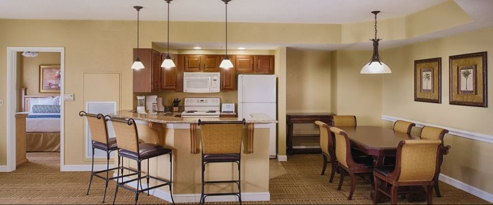 View of a 2 Bedroom Kitchen and Dining Room at the Wyndham Bonnet Creek Resort in Orlando 960