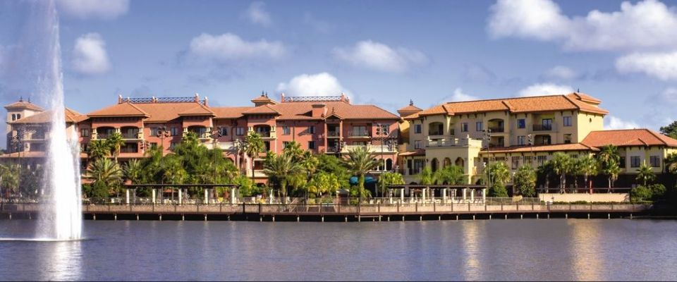 View of the Wyndham Bonnet Creek Resort from the Lake 960