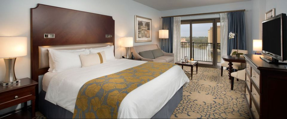View of a King Grand Deluxe Bed Room with Balcony at the Wyndham Grand Orlando