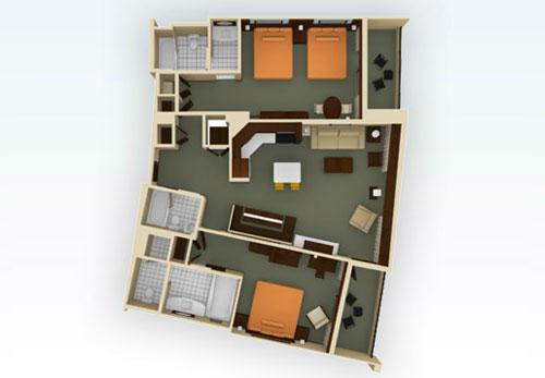 Floorplan Of The Dvc Bay Lake Tower 2 Bedroom Villa
