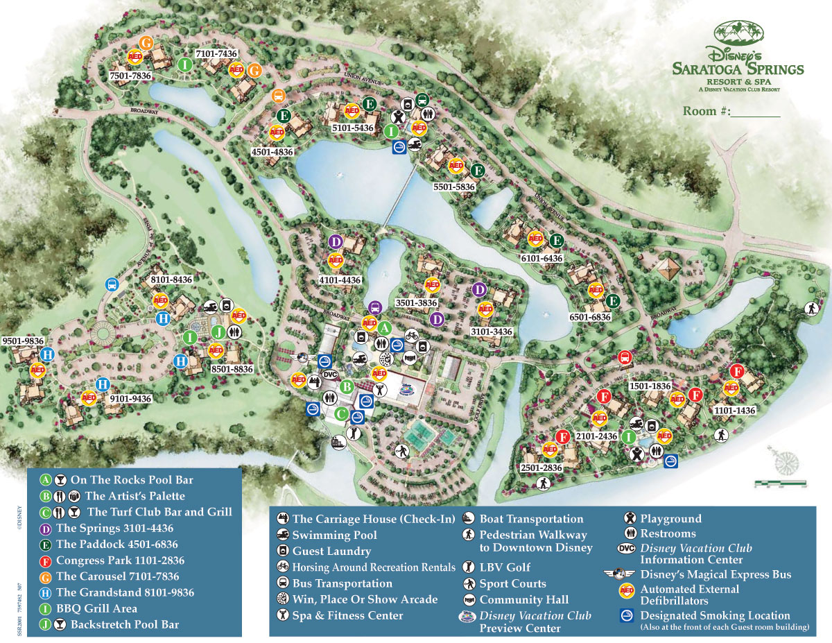 Disney Saratoga Springs Map Disney Saratoga Springs Resort Map | Water Taxi to Downtown Disney