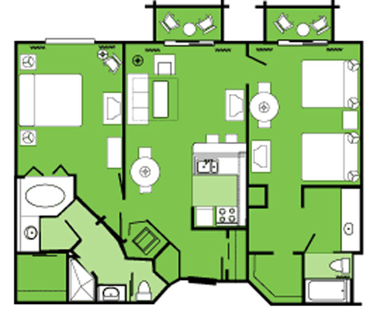 Floorplan Of The Dvc Beach Club 2 Bedroom Villa